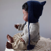 Navy Fairtrade 100% Alpaca Bonnet for 21, 32 and 38cm miniland
