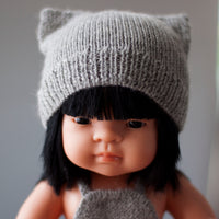 Silver Cat Hat Fairtrade 100% Alpaca Cat Hat for 21, 32 and 38cm miniland