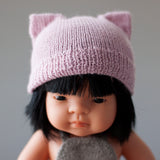 Soft Pink Fairtrade 100% Alpaca Cat Hat for 21, 32 and 38cm miniland