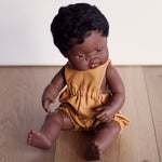 Unisex Mustard Linen Romper for Minikane and 38cm Miniland
