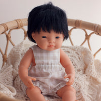 Unisex Sand Gingham Romper for Minikane and 38cm Miniland