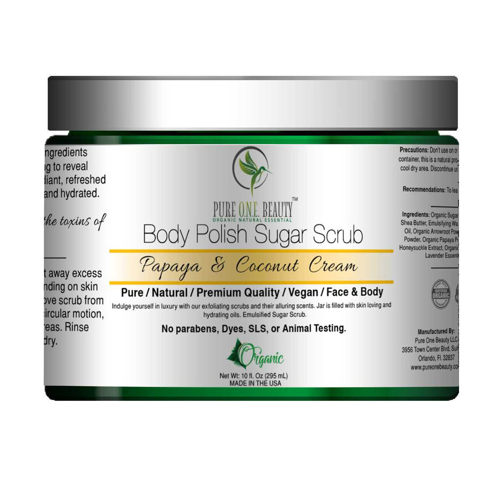 Papaya & Coconut Cream<br>Body Polish Emulsified Scrub - Pure ONE Beauty
