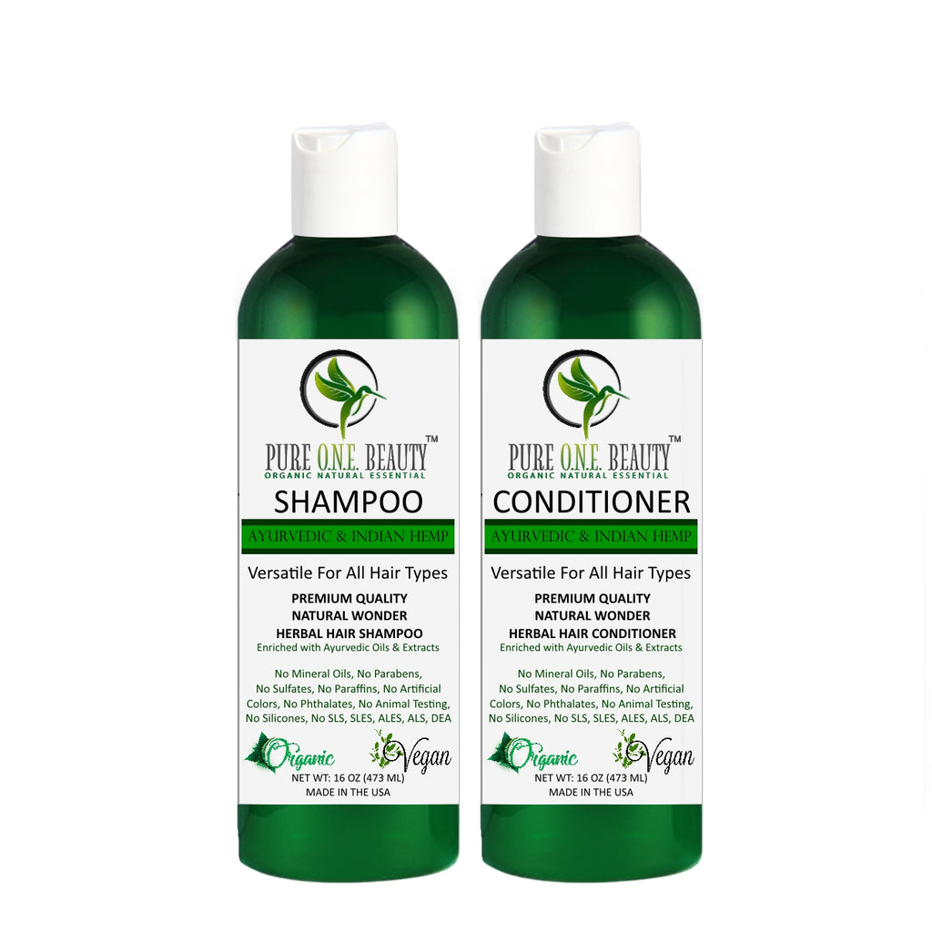 Ayurvedic & Indian Hemp Shampoo & Conditioner - Pure ONE Beauty