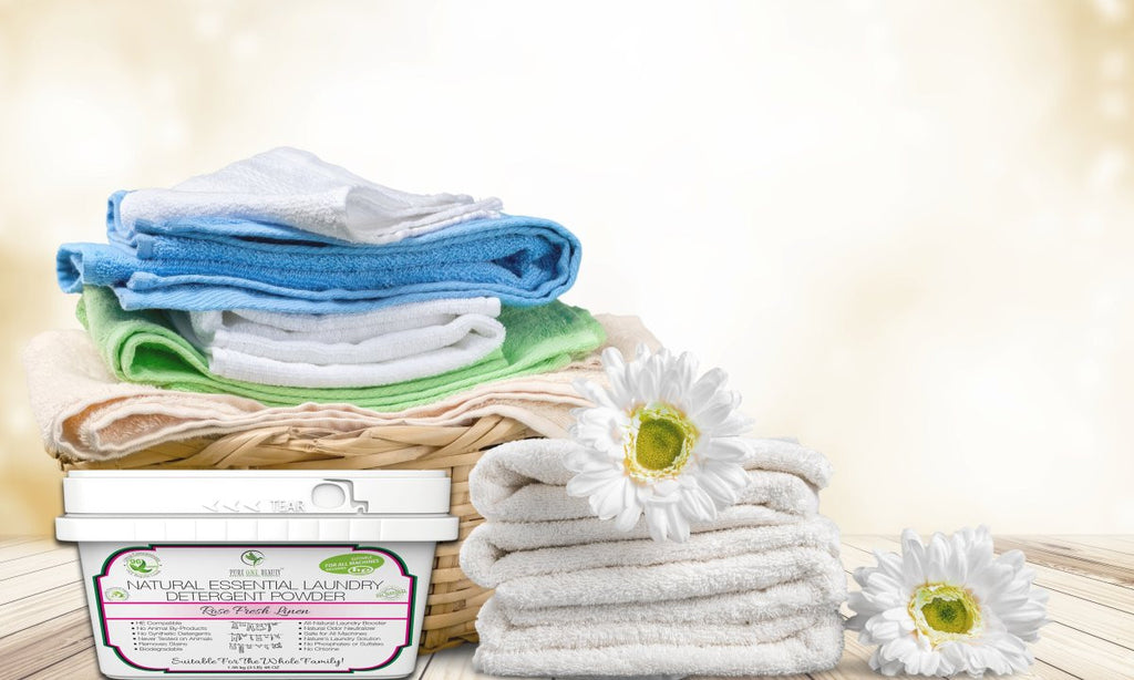 Rose Fresh Linen Natural Essential<br>Laundry Detergent Powder - Pure ONE Beauty