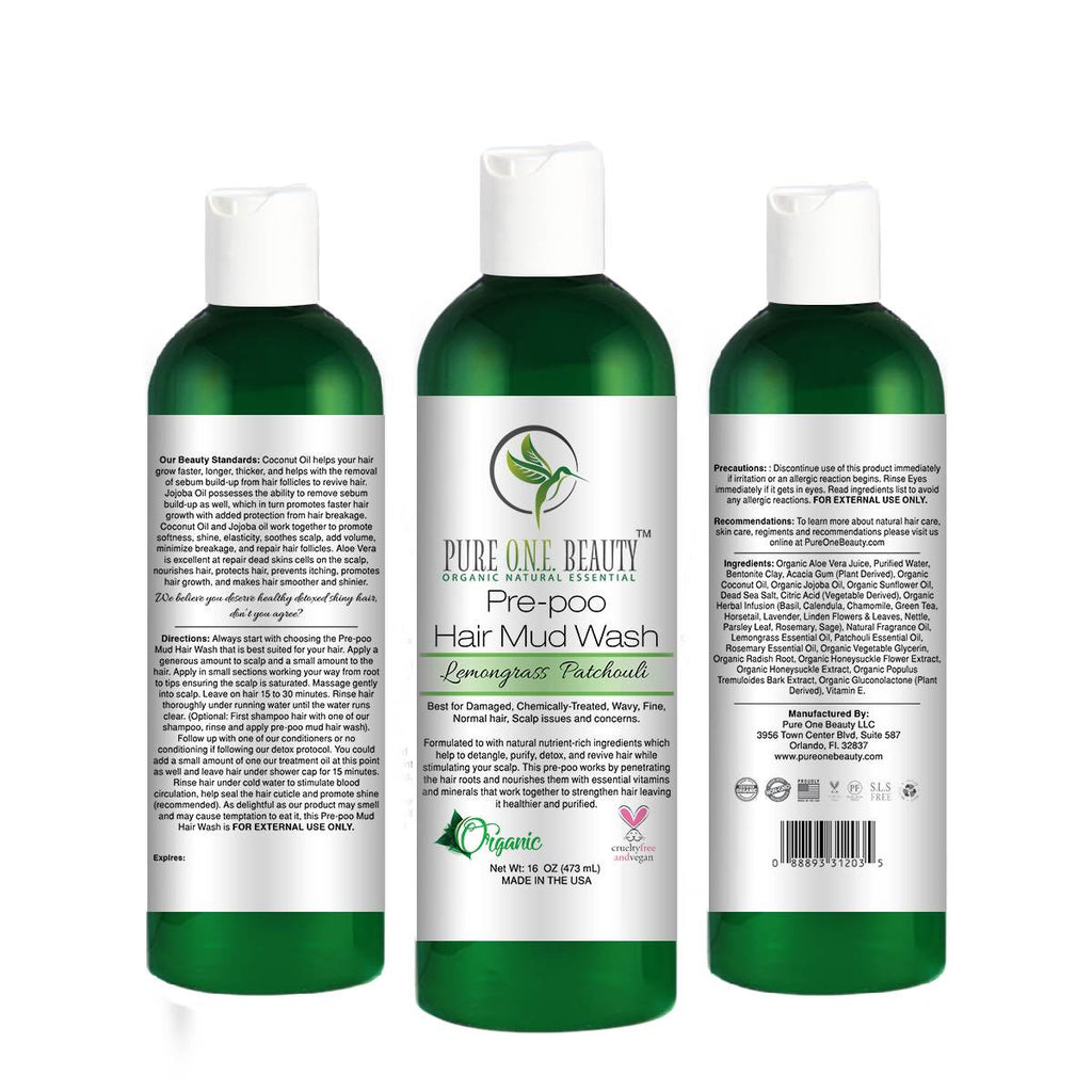 Lemongrass Patchouli<br>Pre-poo Hair Mud Wash - Pure ONE Beauty