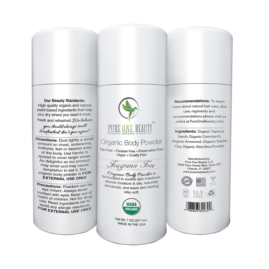 Fragrance Free<br>Organic Body Powder - Pure ONE Beauty