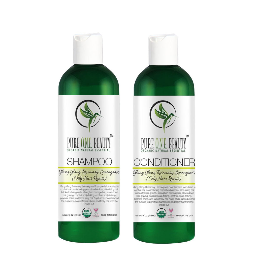 Ylang Ylang Rosemary Lemongrass (Oily Hair Repair)<br>Shampoo & Conditioner - Pure ONE Beauty