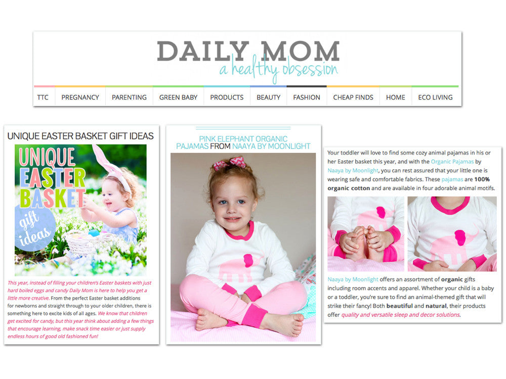 Daily Mom Naaya by Moonlight - Pink Elephant Organic Pajamas