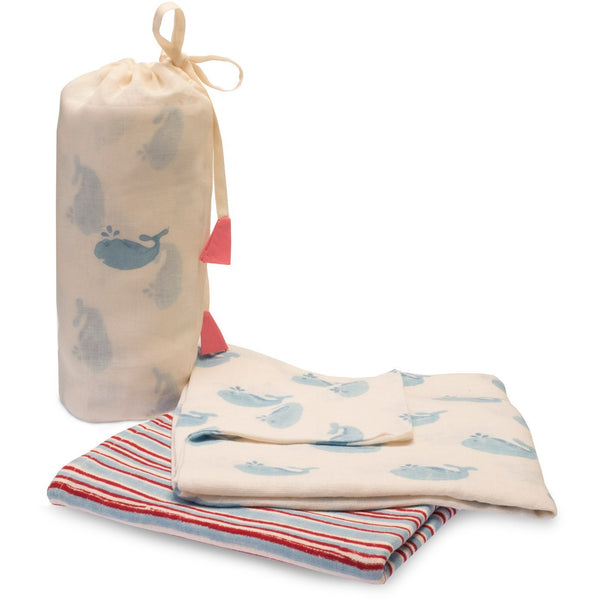 Blue Whale Swaddle Set - Naayabymoonlight