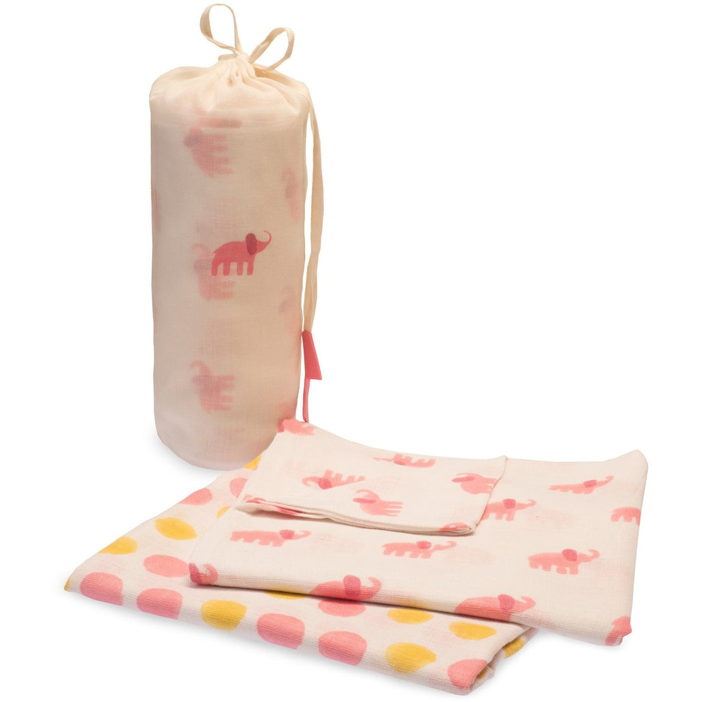 Pink Elephant Swaddle Set - Naayabymoonlight