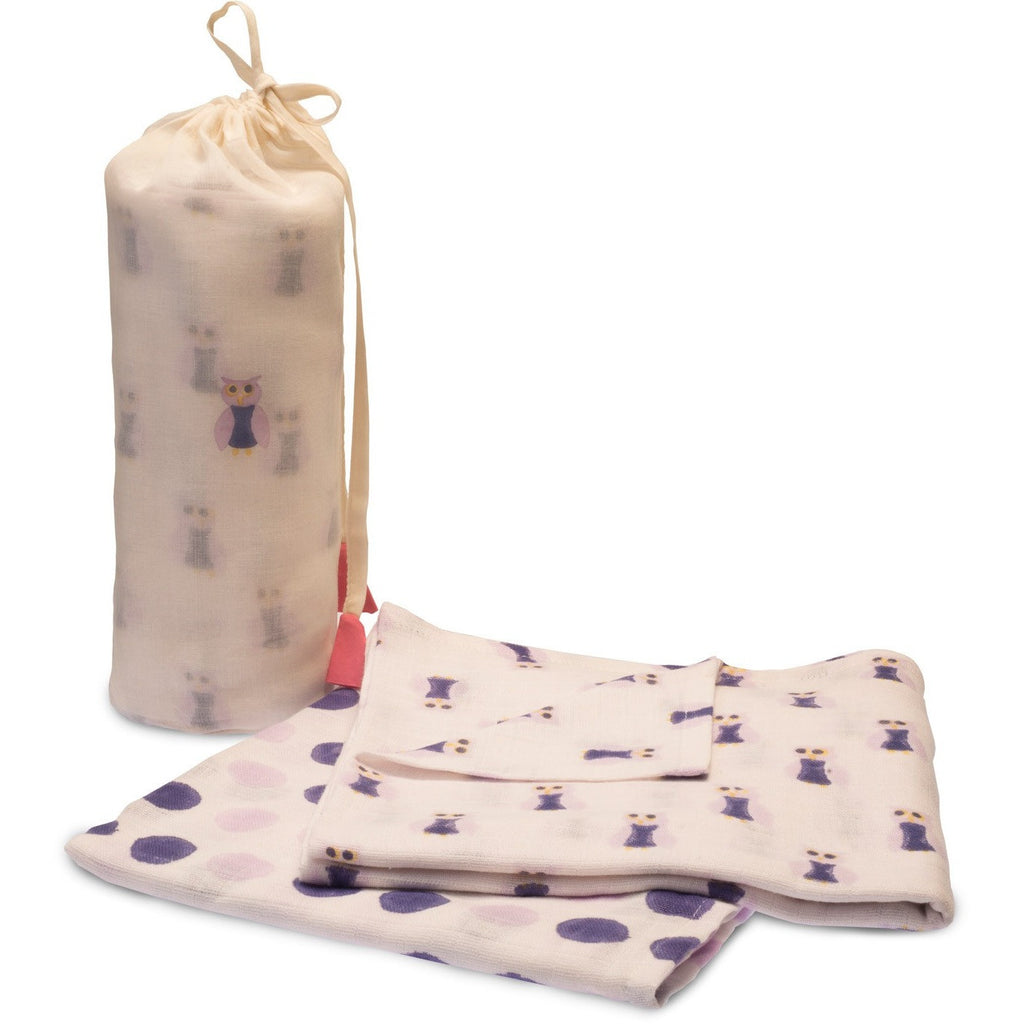 Purple Owl Swaddle Set - Naayabymoonlight
