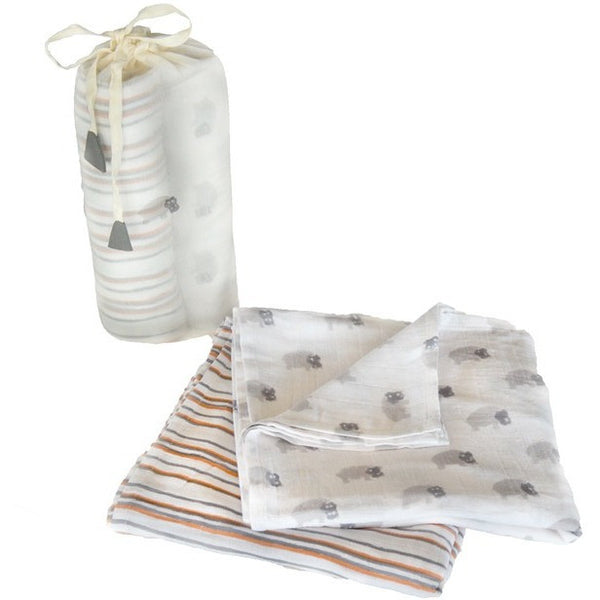 Gray Hippo Swaddle Set - Naayabymoonlight