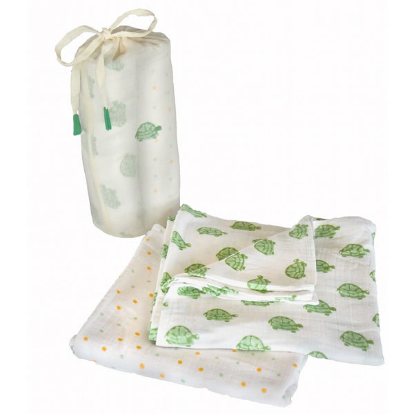 Green Turtle Swaddle Set - Naayabymoonlight