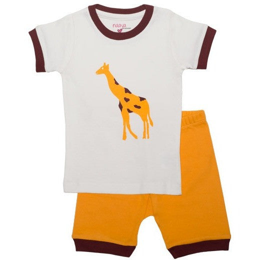 Yellow Giraffe Organic Pajamas - SHORT - Naayabymoonlight