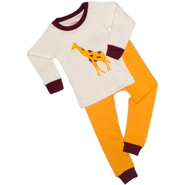 Yellow Giraffe Organic Pajamas - Long - Naayabymoonlight