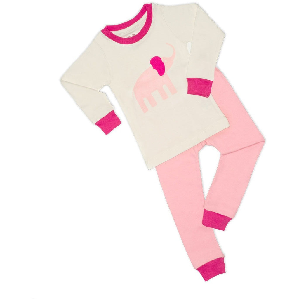 Pink Elephant Organic Pajamas - LONG - Naayabymoonlight