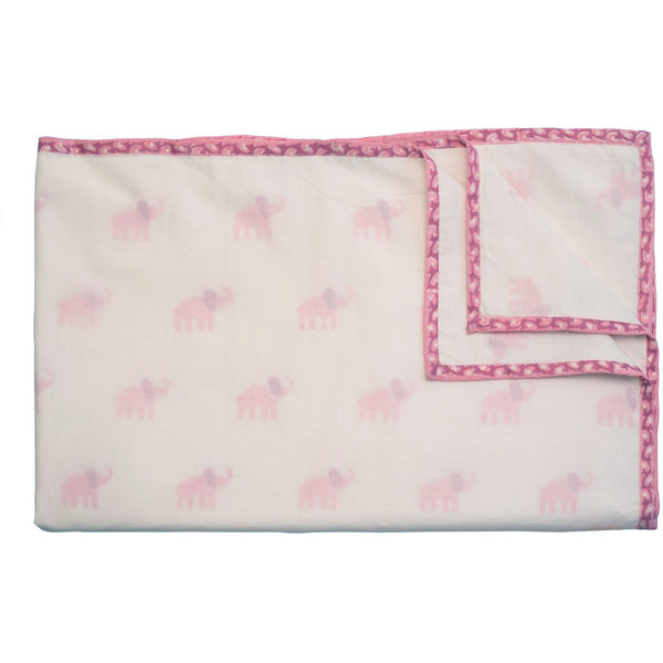 Pink Elephant Organic Lightweight Baby Blanket - Naaya by Moonlight