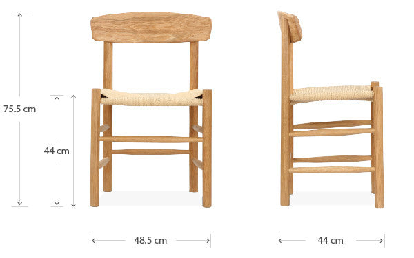 J39 chair dimensions