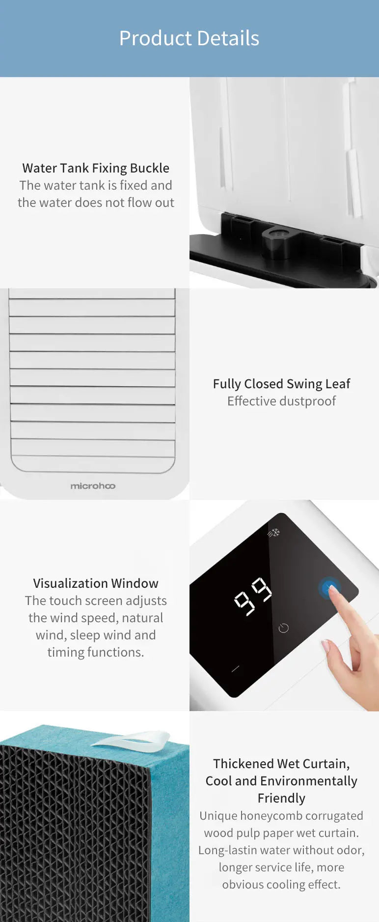 mini air cooler touch screen display