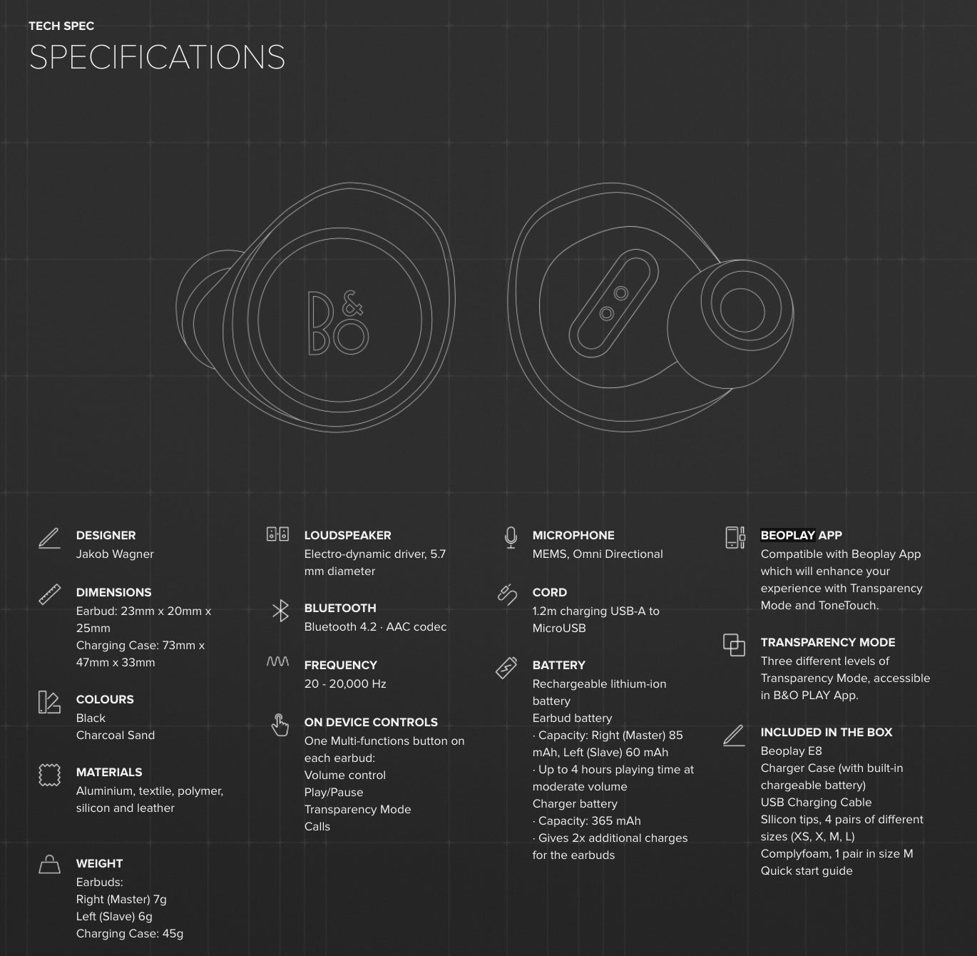 B&O PLAY E8 Wireless Earphones specifications