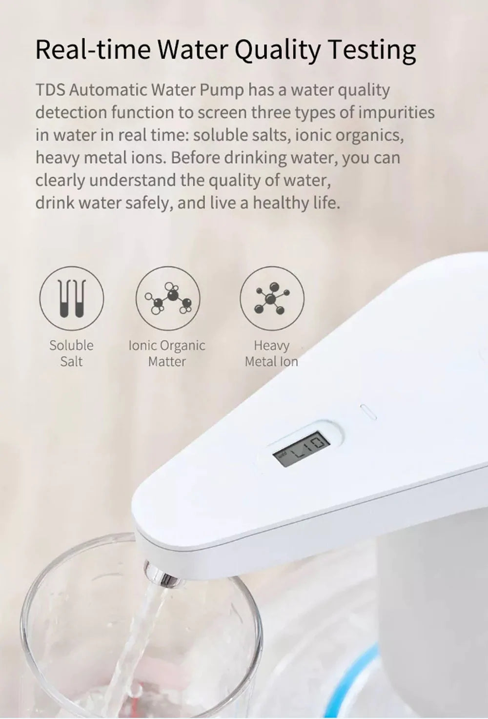 Xiaomi XiaoLang TDS Automatic Water Pump Touch Switch Mini Wireless USB Rechargeable Electric Dispenser Drinking Water  in india furper