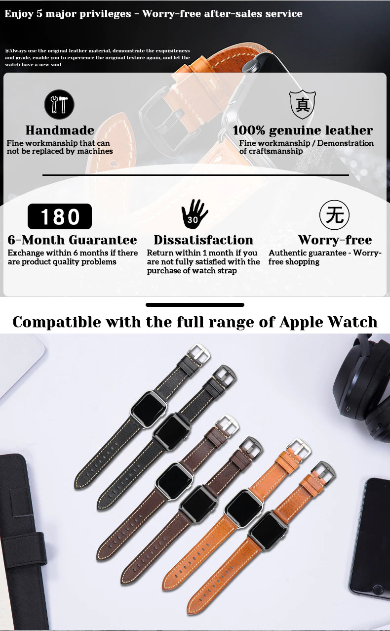 Furper APL4066 Premium Genuine Leather Apple Watch Straps Replacement For 44MM 40MM 42MM 38MM All Series