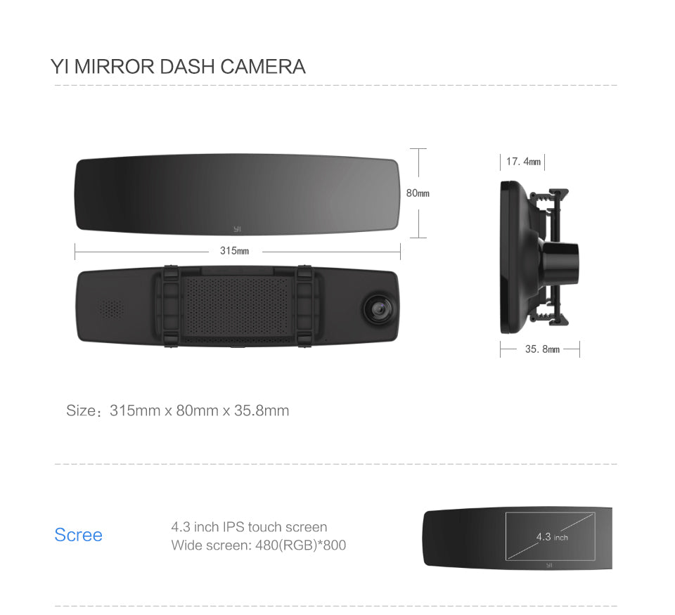 Yi Mirror Dash Camera Recorder India