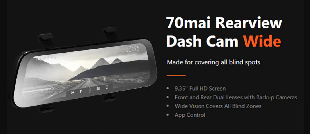 70mai rear view wide dvr in india