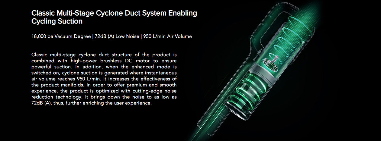 Classic Multi-Stage Cyclone Duct System Enabling Cycling Suction