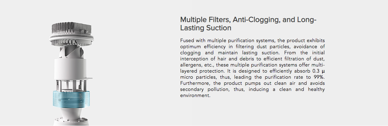 Multiple Filters, Anti-Clogging, and Long-Lasting Suction