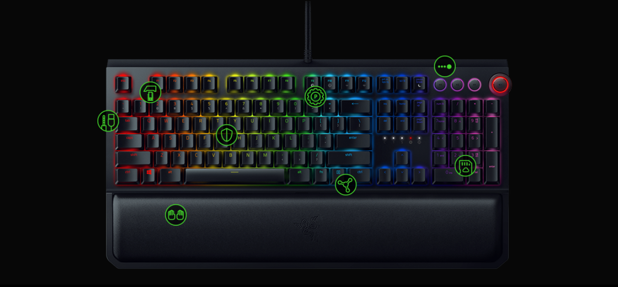 USB 2.0 and audio pass through for easy cable routing  Fully Controllable Keys to customize key lighting, bindings, and macros  Razer™ Mechanical Switches designed for gaming  Razer Synapse 3 for next level configuration  Ergonomic Wrist Rest for extended gaming comfort  Multi-Function Digital Dial with dedicated media controls  Engineered for Durability up to 80 million keystrokes  Hybrid on-board memory and cloud storage for personalized settings anytime, anywhere