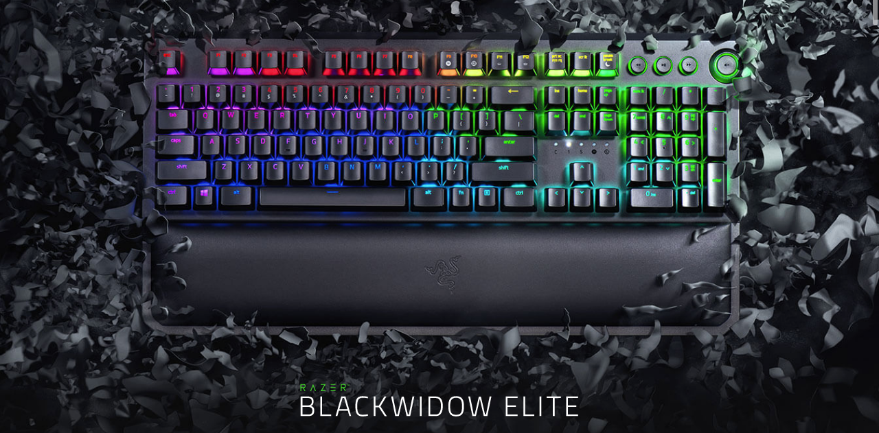 Razer BlackWidow Elite: Esports Gaming Keyboard - Multi-Function Digital Dial with Dedicated Media Controls - Ergonomic Wrist Rest - Razer Green Mechanical Switches (Tactile and Clicky)