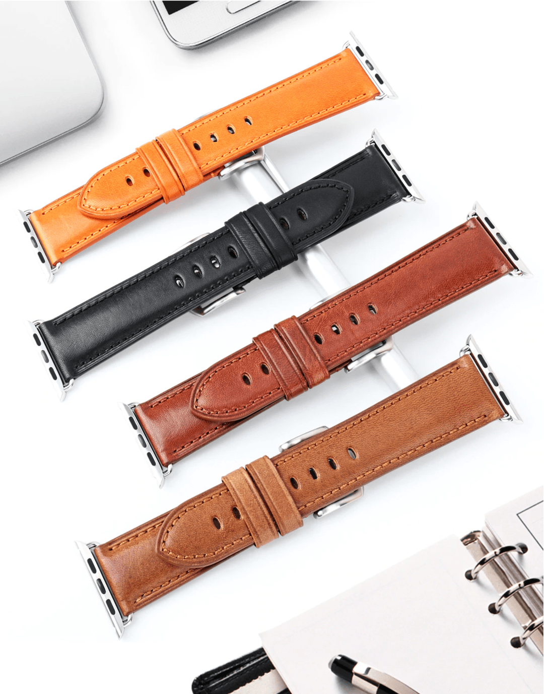 Genuine leather apple watch premium high quality straps in india