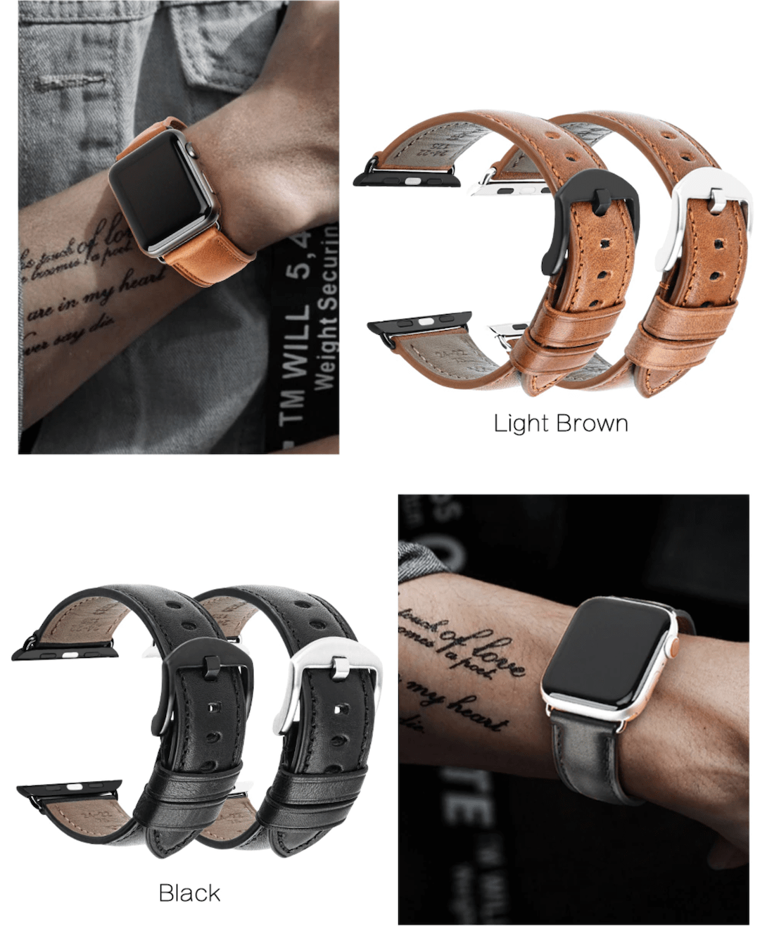 Genuine leather apple watch premium high quality black straps in india