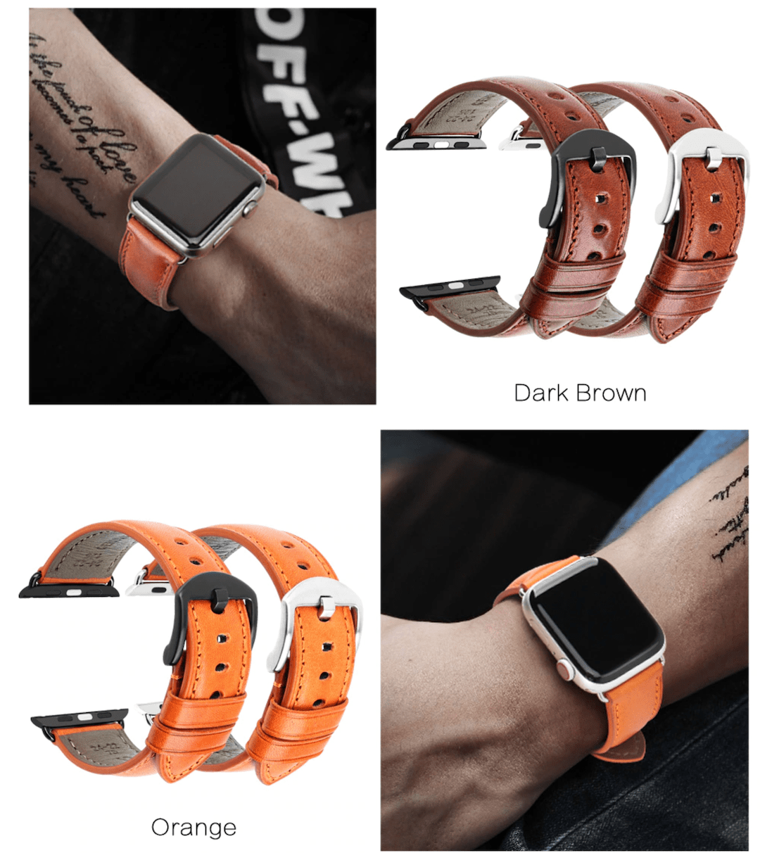 Genuine leather apple watch premium high quality brown straps in india