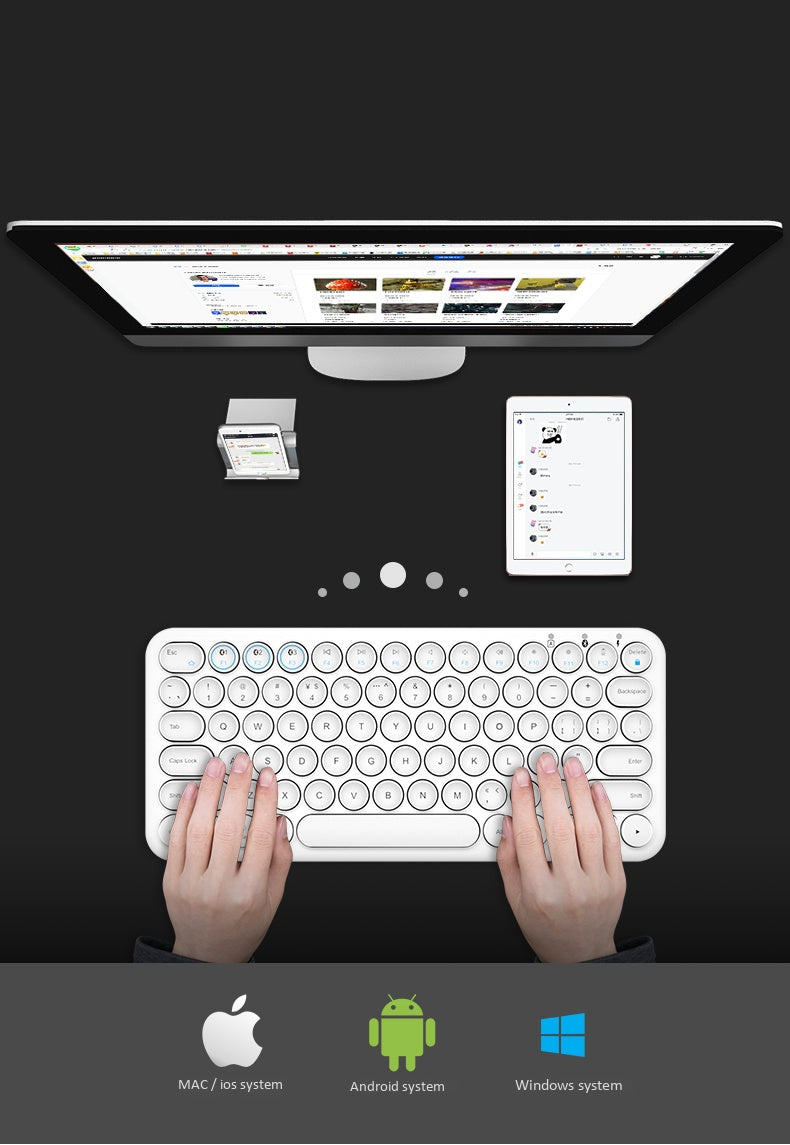 BOW HB098S Multi-device Portable Wireless Keyboard Black
