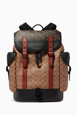 Coach Hitch Backpack in Signature Canvas with Horse & Carriage Print Backpack Coach Black Copper/Truffle Multi