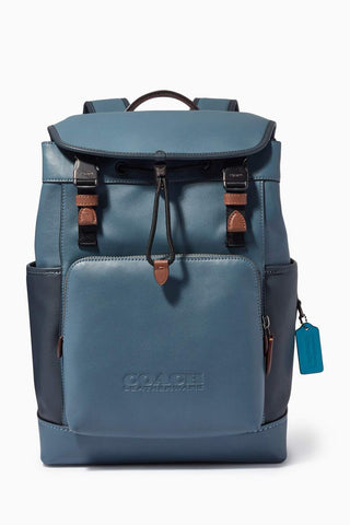 Coach League Flap Backpack in Colorblock Leather Backpack Coach Blue Quartz