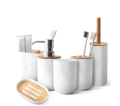 Furper Bamboo Bathroom Accessories Toothbrush Holder Soap Dispenser Toilet Brush Bathroom Set Bathroom Accessories Furper.com