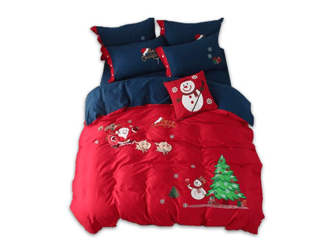 Merry Christmas Santa Red Bedding Set with Embroidery Duvet Cover Bed Sheet Bed Sheet Furper