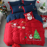 Merry Christmas Santa Red Bedding Set with Embroidery Duvet Cover Bed Sheet Bed Sheet Furper King Size 4psc Set