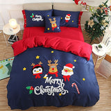 Merry Christmas Santa Red Bedding Set with Embroidery Duvet Cover Bed Sheet Bed Sheet Furper King Size 5psc Set