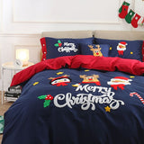 Merry Christmas Santa Red Bedding Set with Embroidery Duvet Cover Bed Sheet Bed Sheet Furper Queen Size 5psc Set