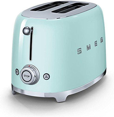 Smeg TSF01PGUS 50's Retro Style Aesthetic 2 Slice Toaster, Pastel Green - Furper