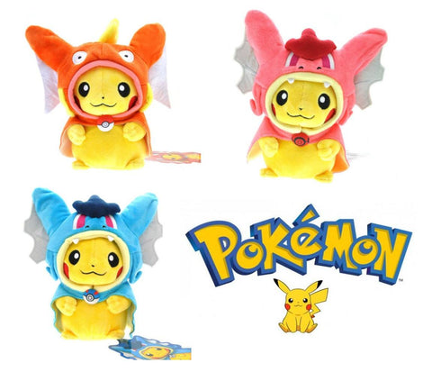 Pokemon Pikachu With Magikarp and Gyrados Poncho Plush Toy