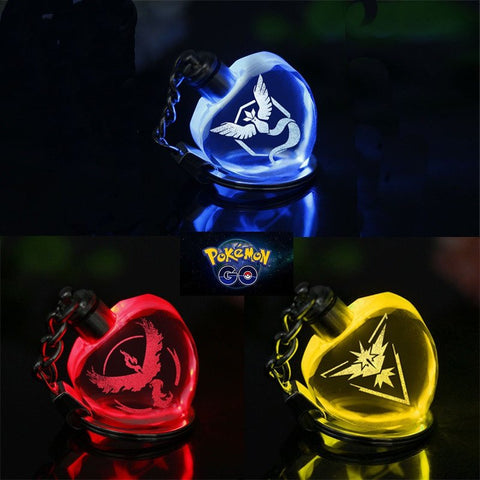 Pokemon GO LED Light Crystal Keychain (Heart Shape)