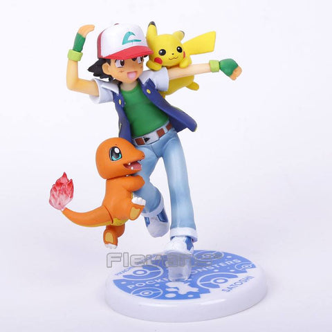 Pokemon Ash Ketchum with Charmander and Pikachu Action Figures (10cm)