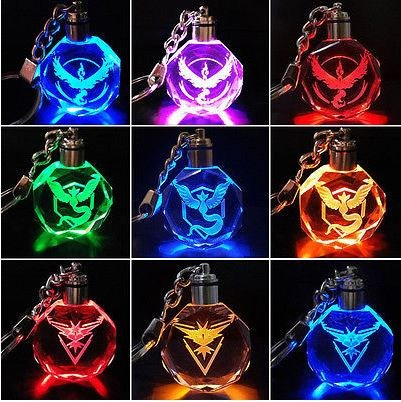 Pokemon GO Multi-Color Changing LED Light Crystal Keychain