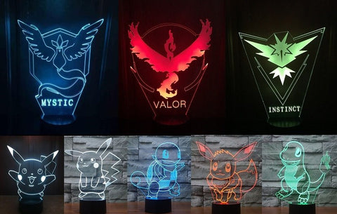 Pokemon Go Team Multi-Color Changing LED 3D Lamp