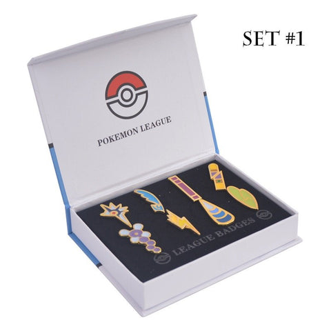 Pokemon League Gym Badges Lapel Pins FULL Collection Set